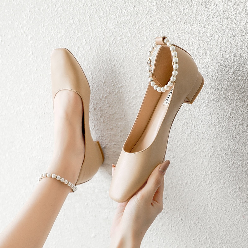 2021 spring new apartment loafers commuter single shoes round toe flat with pearl strap fashion pumps women's shoes