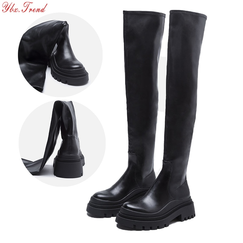 2021 ZA النساء أحذية طويلة فوق الركبة التمهيد سميكة Platflam الانزلاق على مرونة سيدة أحذية الإناث الجلود الإناث الخريف بوط شتوي