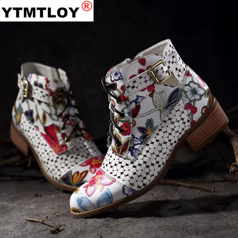 Fashion Chinese Style Women Ankle Boots Print Floral High Heel Ladies Shoes Party Dancing Pumps Basi