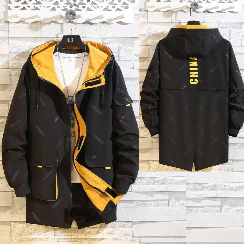 Мужская Длинная ветровка размера плюс, мужское пальто, мужская верхняя одежда, черная Повседневная Свободная куртка, Новинка
