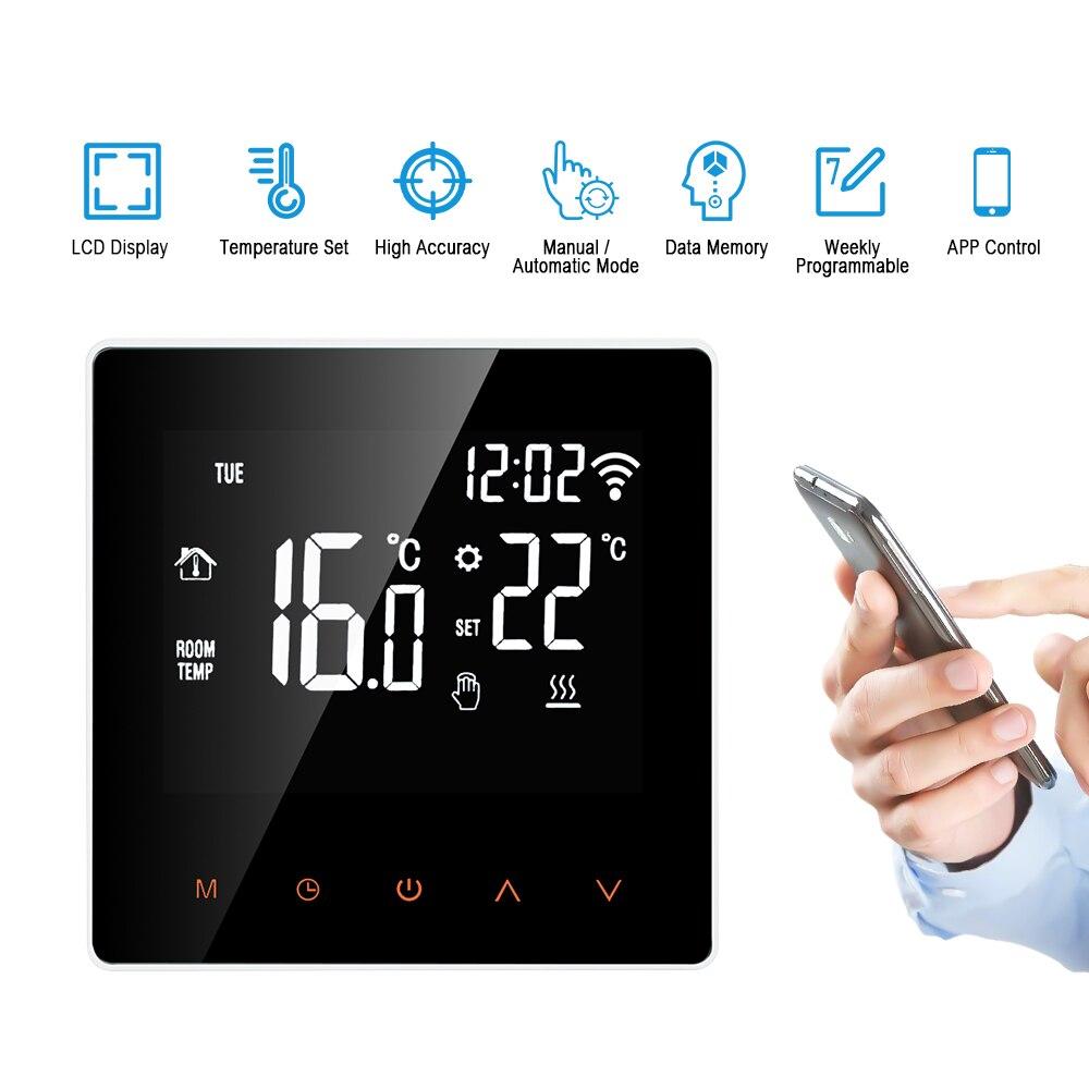 Termostato inteligente Wi-Fi, controlador Digital de temperatura, Control de APP, pantalla táctil LCD, termostato programable de calefacción eléctrica