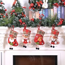 Nowy rok 2020 prezent na Boże Narodzenie boże narodzenie pończochy Mini Santa worki cukierki Dragee płócienna torba dekoracje na boże narodzenie dla domu prezenty