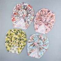 new four seasons ins newborn fresh floral baby hedging cap european and american ball head printing female baby hat