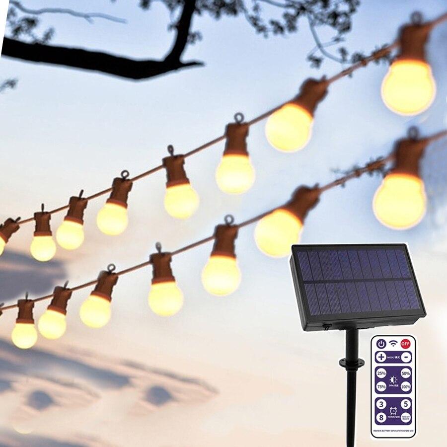 10/20 G50 LED إكليل إضاءة خارجي يعمل بالطاقة الشمسية ، درجة تجارية ، إكليل خرافي للكريسماس ، زينة زفاف للمقهى ، الفناء ، بيسترو