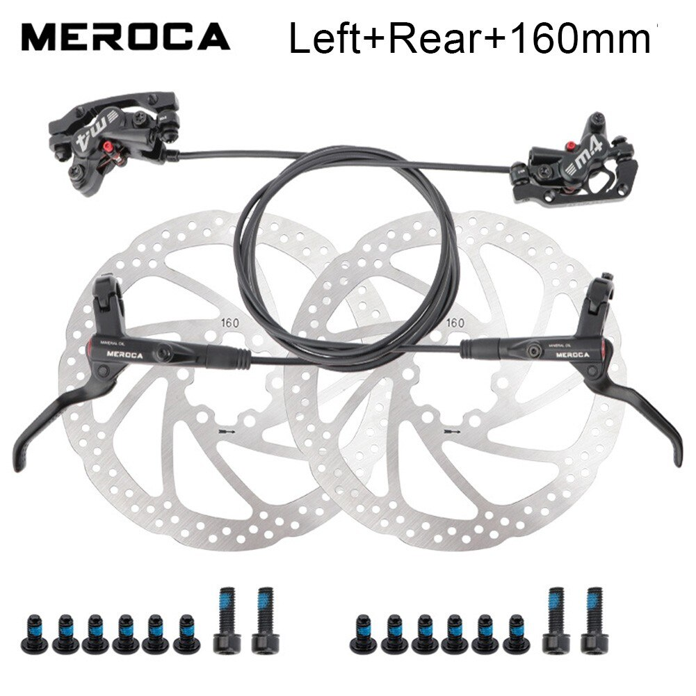 Bicycle Hydraulic Disc Brake Aluminum Alloy Black  Front & Rear With Rotor Four Piston Oil Pressure Disc Brake Set