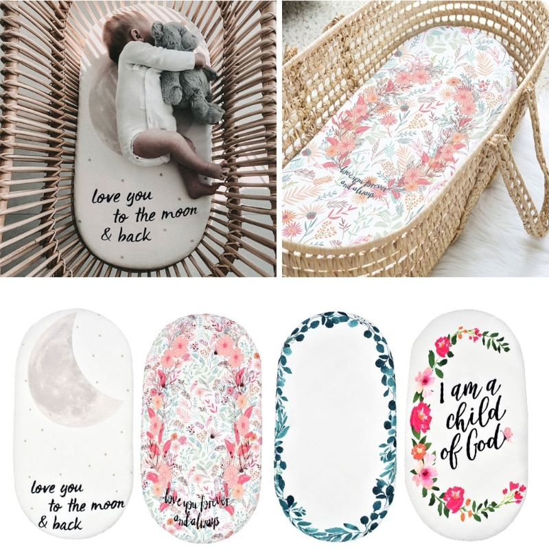 AliExpress - Baby Moses Basket Sheet Printing Mini Cradle Bedding Protector Crib Care Changing Pad Mattress Removable Cover