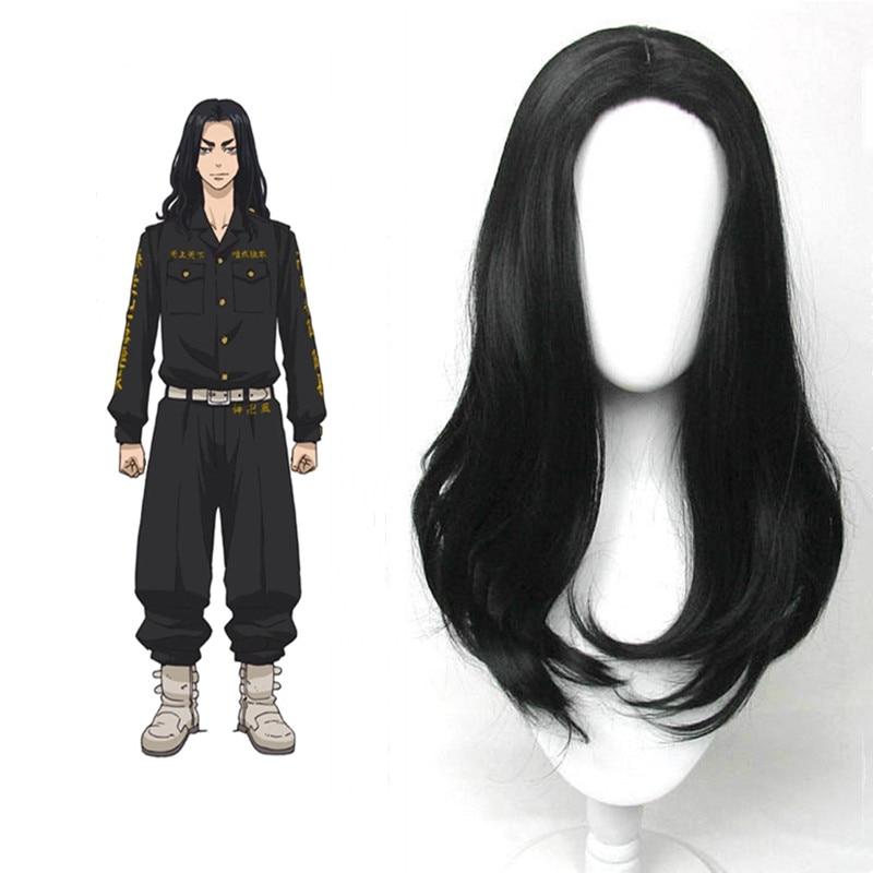Baji Keisuke Cosplay Wig Tokyo Revengers Black Curly Wig Synthetic Hair with Wig Cap