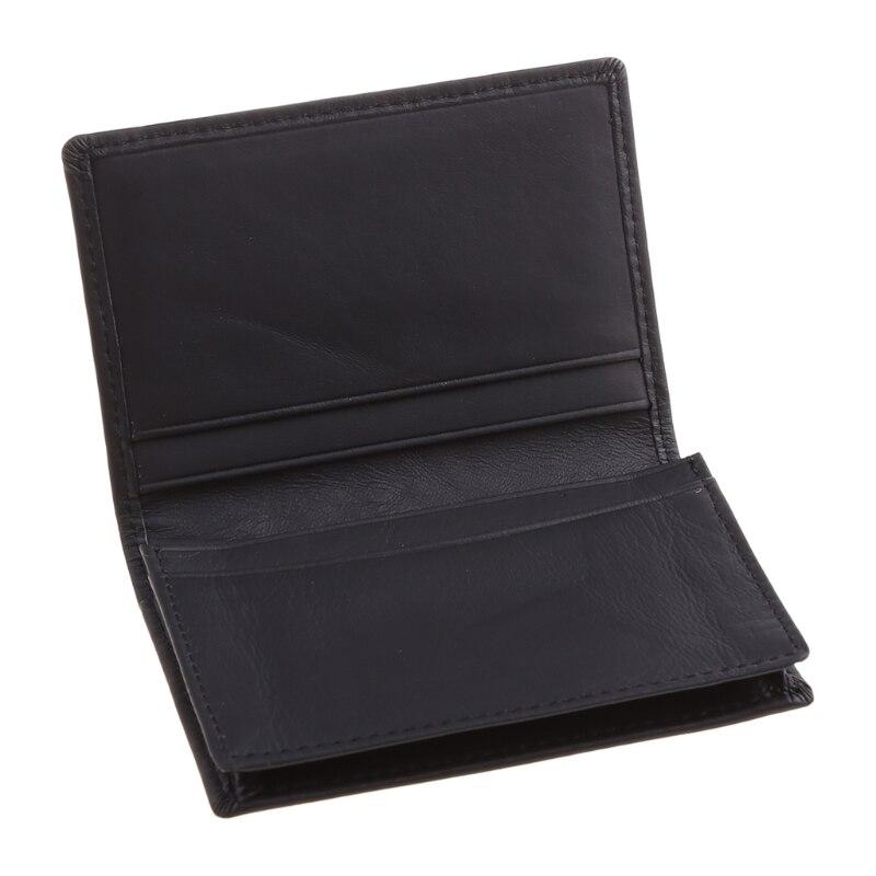 Cartão de Crédito Cartões de Visita Homem Couro Preto Expansível Titular Carteira Case D0ud id