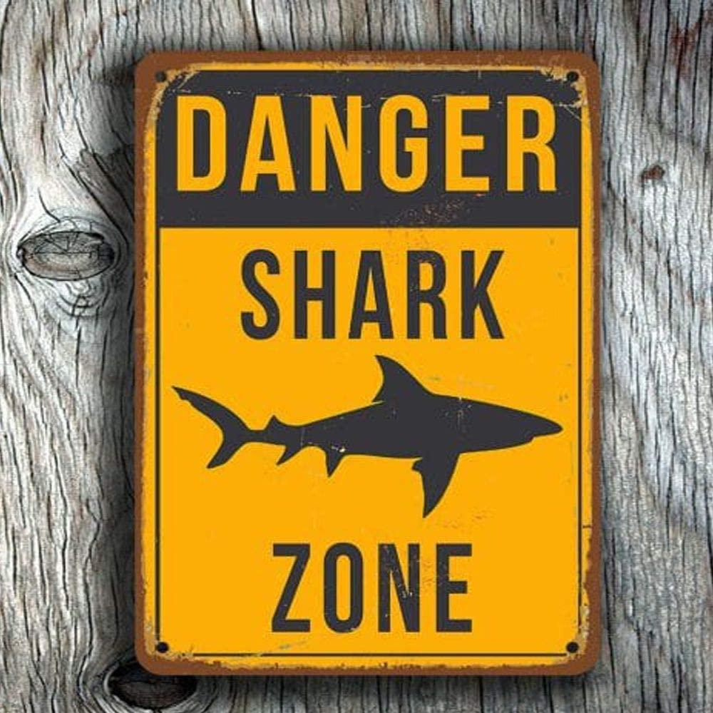 Винтажный металлический жестяной знак «Зона акулы», мужская пещера для мужчин и женщин, Настенный декор для баров, унитазов, ресторанов, каф...