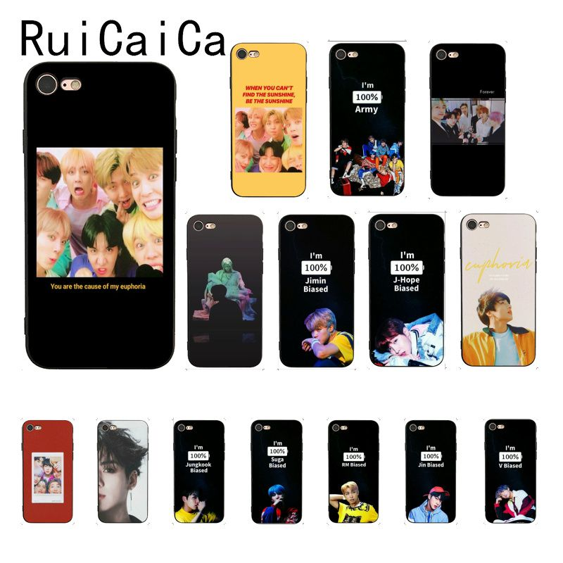 Ruicaica KPOP ejército euforia Jungkook Corea suave de silicona TPU cubierta de la caja del teléfono para iPhone 8 7 6 6S Plus 6 X XS X MAX 5 5S SE XR