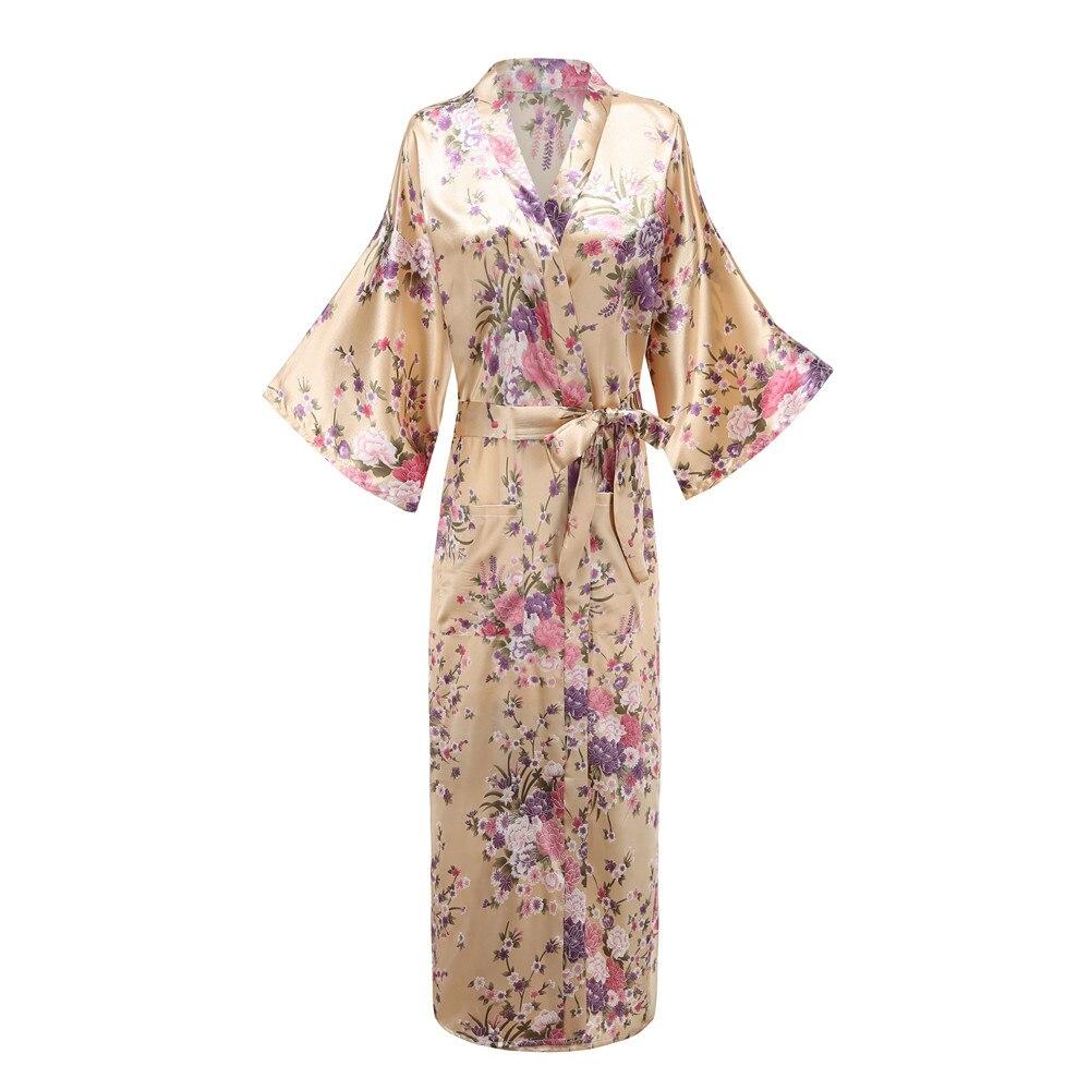 Flor señora Sexy Robe ropa de dormir de talla grande 3XL largo camisón de satén señora noche vestidor baño novia dama de honor boda Kimono