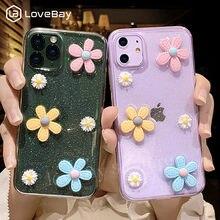 Lovebay 3D Блестящий чехол для телефона с цветами для iPhone 11 Pro 7 8 6 6s Plus X XR XS Max Прозрачный блестящий Мягкий силиконовый чехол из ТПУ