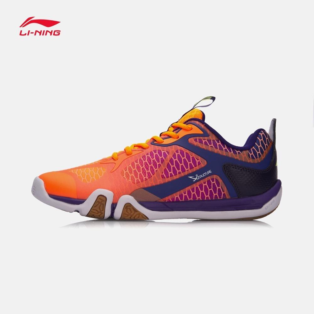 Туфли Li-Ning мужские легсветильник для бадминтона, дышащие Нескользящие кроссовки, подкладка, удобная спортивная обувь для тренировок, AYTM031-3