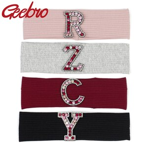 Women Multi-color Rhinestones letter Cotton Ribbed headbands 2020 Summer Casual Fashion hairbands ladies Girls hair Accessories