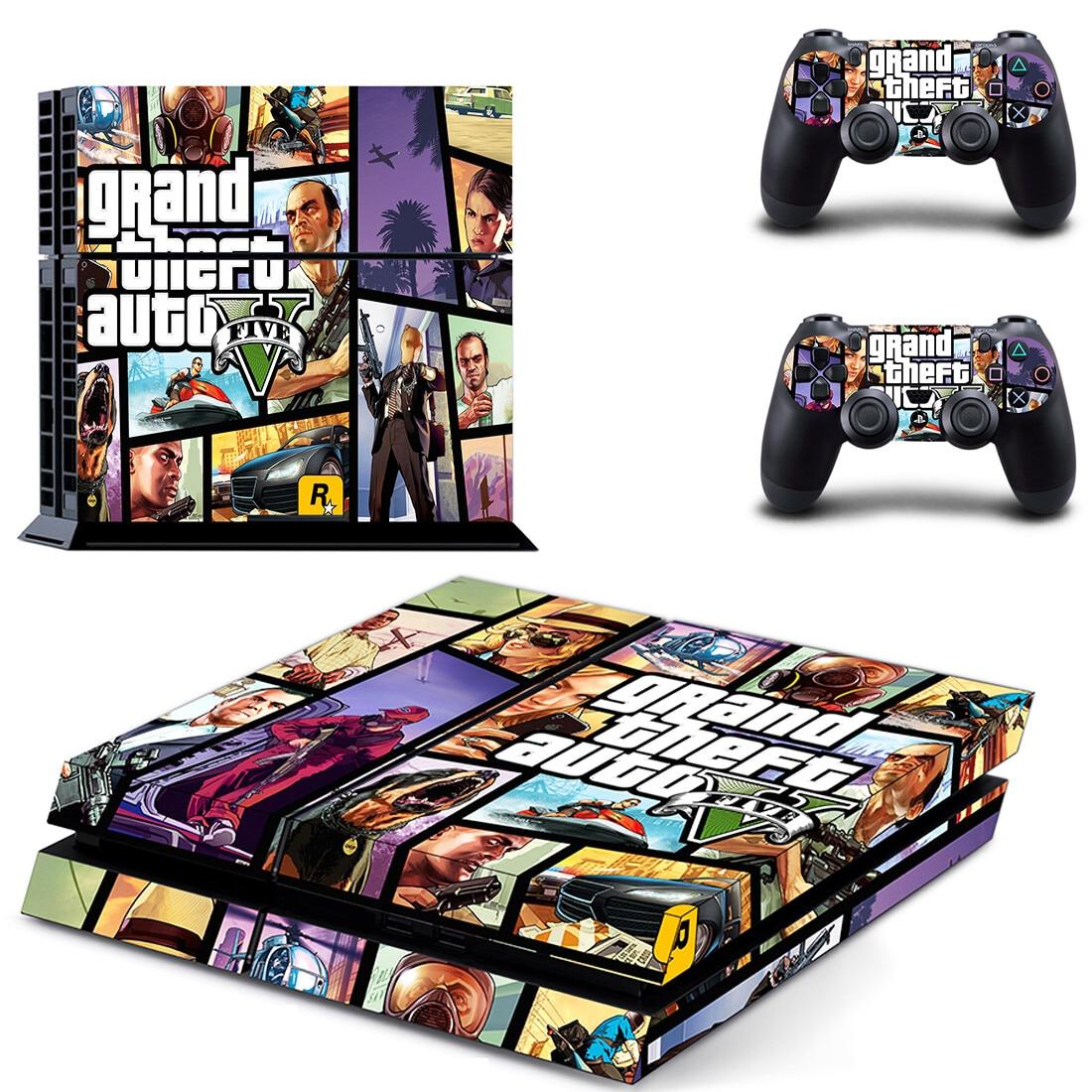 GTA5 GTA PS4 ملصقات بلاي ستيشن 4 الجلد ملصقا الشارات غطاء للبلاي ستيشن 4 PS4 وحدة التحكم و تحكم جلود الفينيل