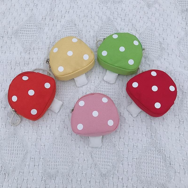 Cute Children's Coin Purse Candy Color Canvas Cartoon Mushroom Mini Messenger Bag Casual Girls Shoul
