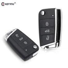 KEYYOU 3 przyciski obudowa kluczyka samochodowego Fob dla VW Volkswagen Golf 7 6 4 MK7 T5 Passat B5 Octavia Skoda część metalowa zmodyfikowana obudowa