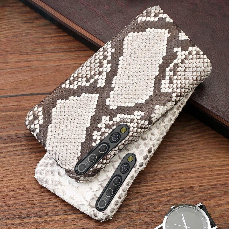 حافظة هاتف من الجلد لهاتف شاومي ريدمي نوت 9 S 8 7 K30 Mi 9 se 9T 10 Lite A3 Mix 2s Max 3 Poco F1 X2 X3 F2 Pro جلد الثعبان الطبيعي