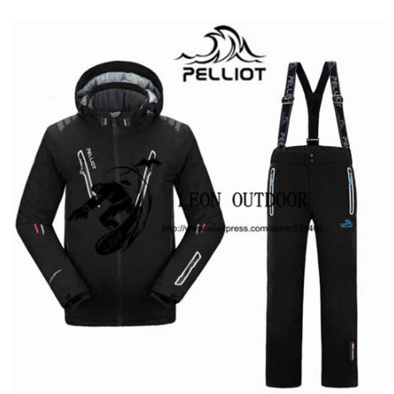 Пелльо мужские лыжные костюмы куртка + брюки Для мужчин водонепроницаем, дышащий TThermal Cottom-мягкий Сноуборд костюм Для мужчин лыжная куртка
