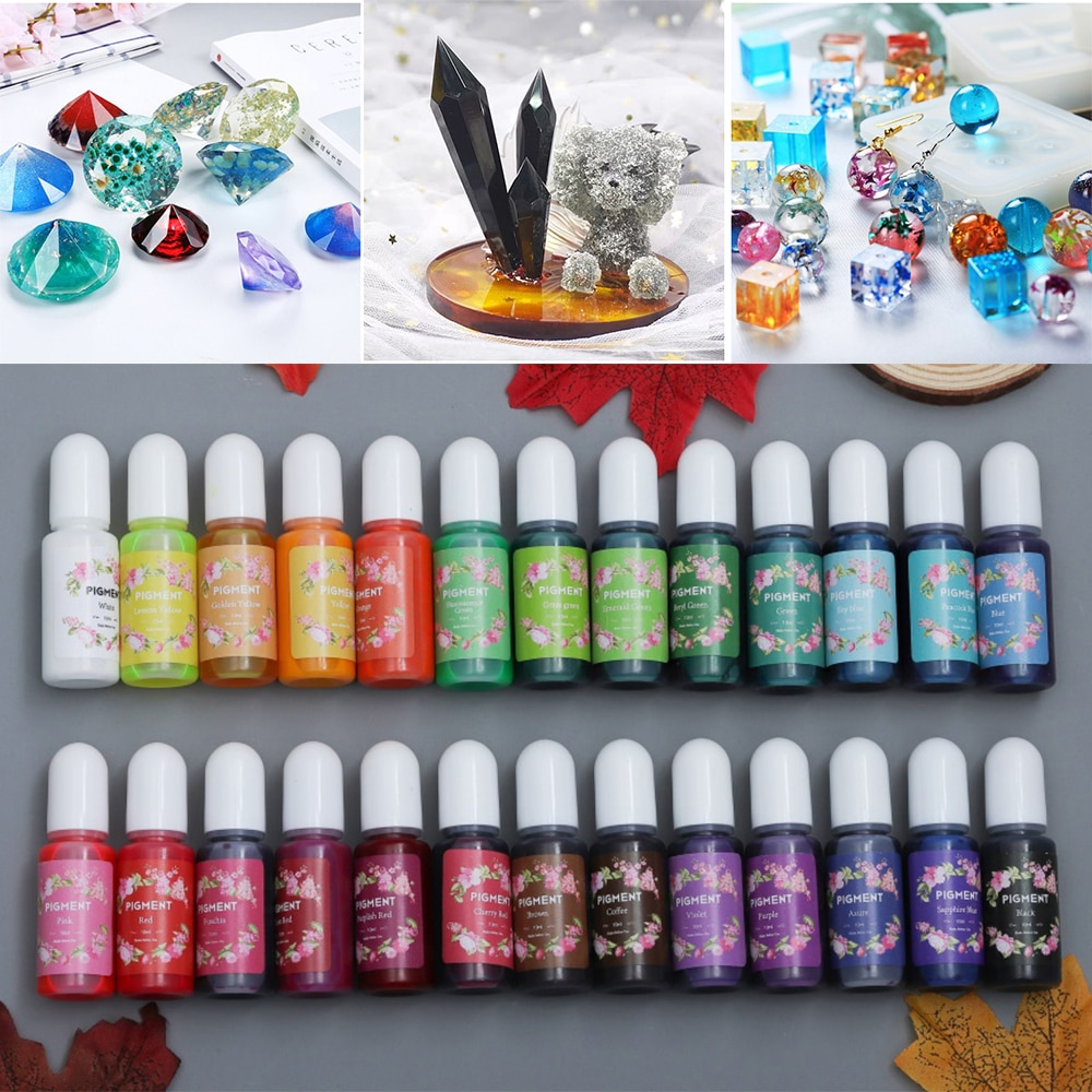 AliExpress - 26 Colors/10ml Epoxy Resin Mix Color Liquid Epoxy UV Resin Coloring Pigment Dye for DIY Crafts Handmade Jewelry Making Tools
