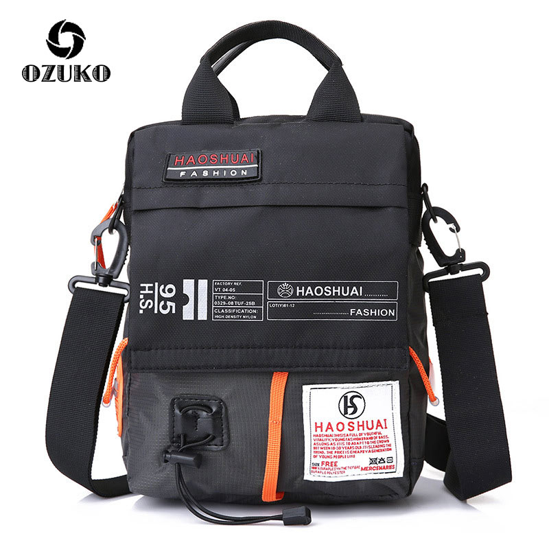 OZUKO-حقيبة كتف مضادة للماء للرجال ، حقيبة كروس عالية الجودة من النايلون ، حقيبة يد صغيرة