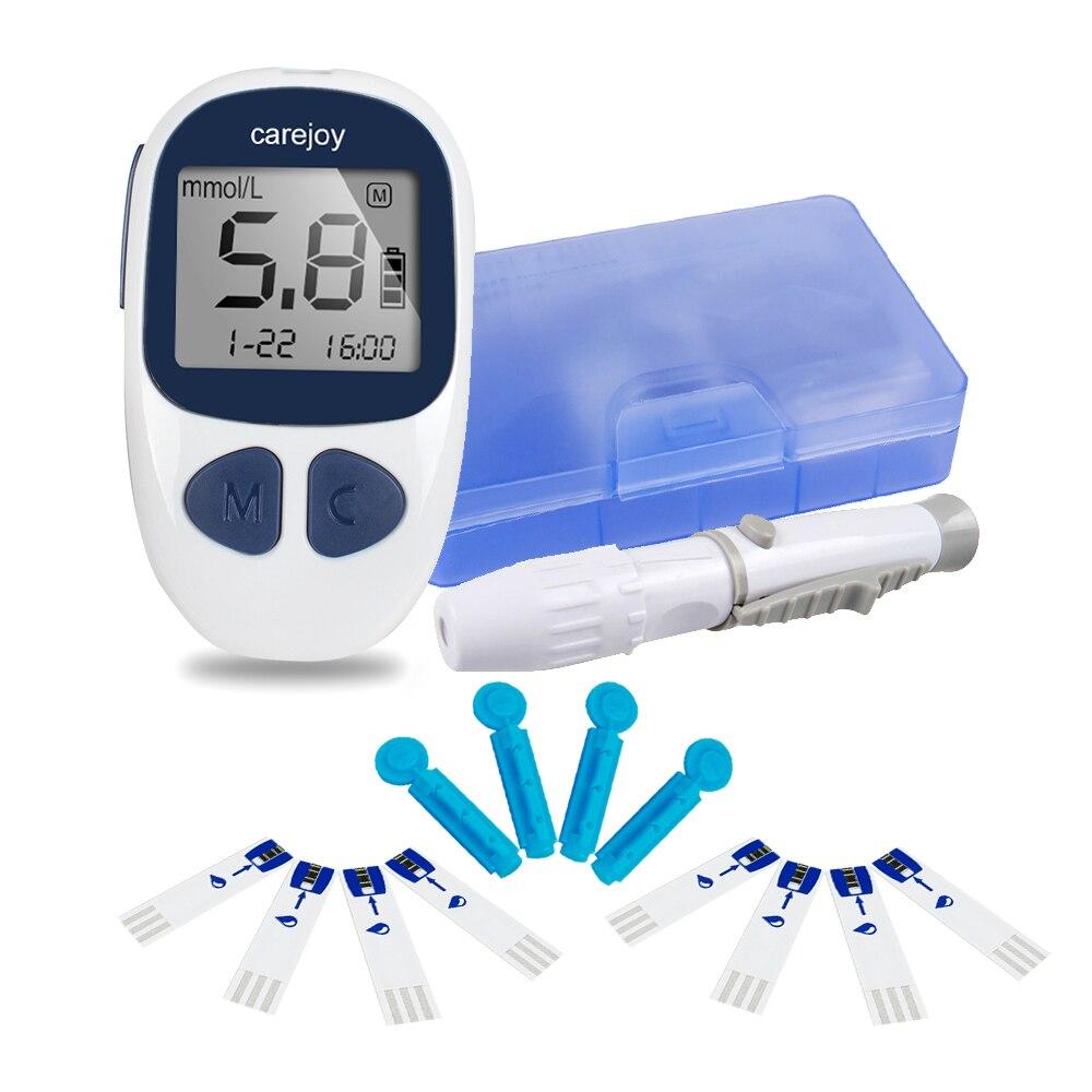 Diabéticos teste glucometro monitor certificado de glicose no sangue medidores monitor 50 tiras + 50 lancets monitor de açúcar no sangue