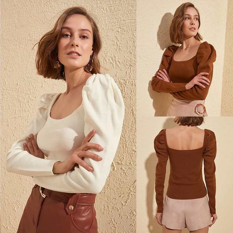 Lady Autumn Newest Knitwear Solid Color Square Collar Puff Sleeve Sweater Stylish Sexy Slim Sweater Women Pretty Fashion Tops