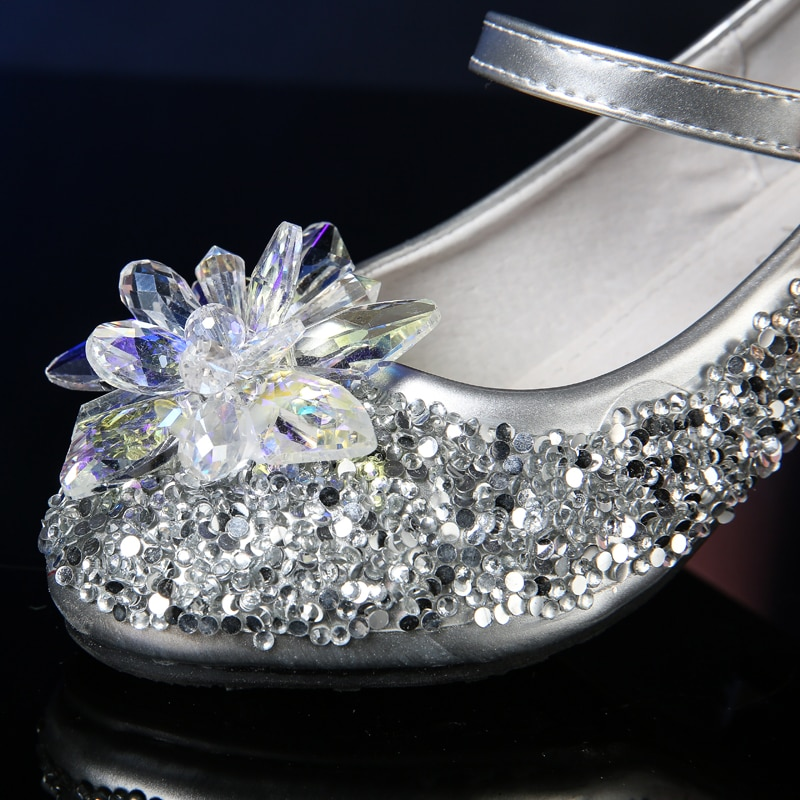 Girl High Heels 2020 Spring & Autumn Piano Performance Model Walking Show Dress Crystal Shoes Children Princess Shoes enlarge