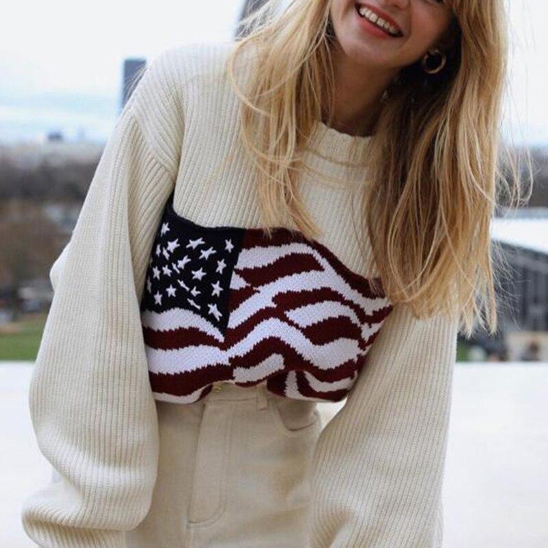 Otoño e Invierno suéter de mujer casual bandera americana patrón cuello redondo suéter de manga larga