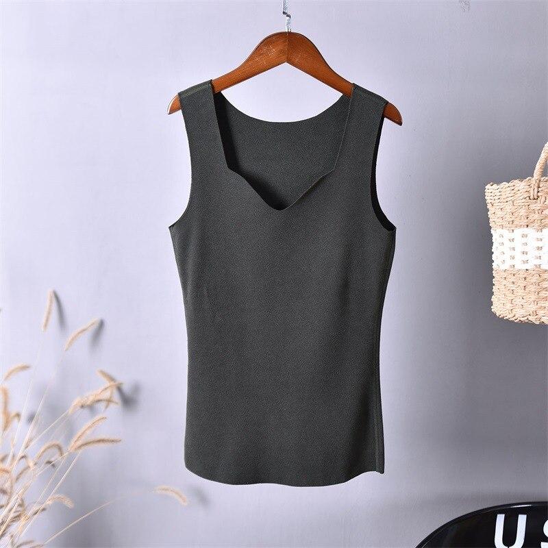 Camisetas sin mangas cálidas camisetas de tirantes ropa interior térmica para mujer corsé térmico grueso Algodón térmico ropa interior de Invierno para mujer