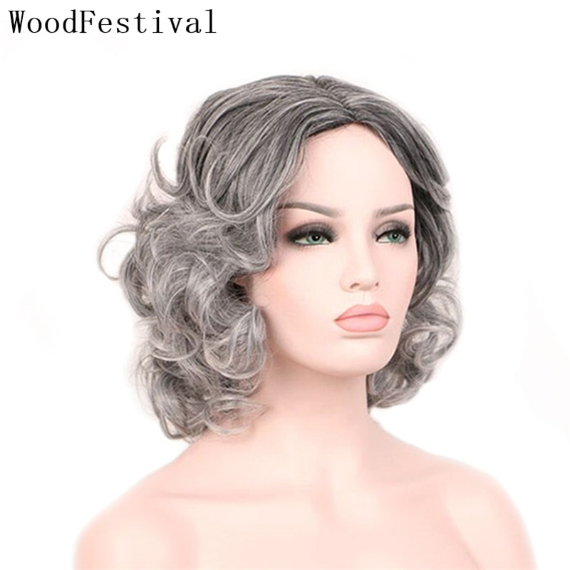 WoodFestival Synthetic Hair Wig Short Cosplay Wavy Colored Wigs For Women Party Ombre Black To Grey Blue Green Female