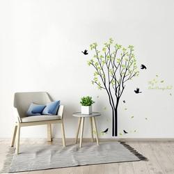 Boa vida minha árvore de laranjeira citação grande árvore com pássaros e folhas removível adesivo de parede decalques we59