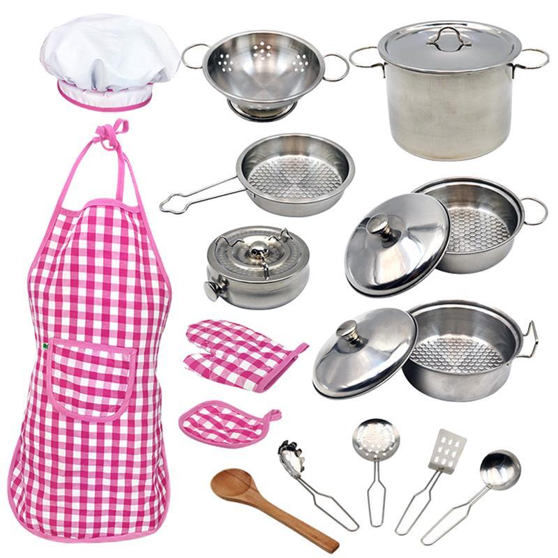 18 قطعة الأطفال الصغار أدوات المطبخ 304 أوانٍ من الستانليس ستيل مقالي الأطفال تجهيزات المطابخ الأطفال التظاهر ألعاب الطّبخ