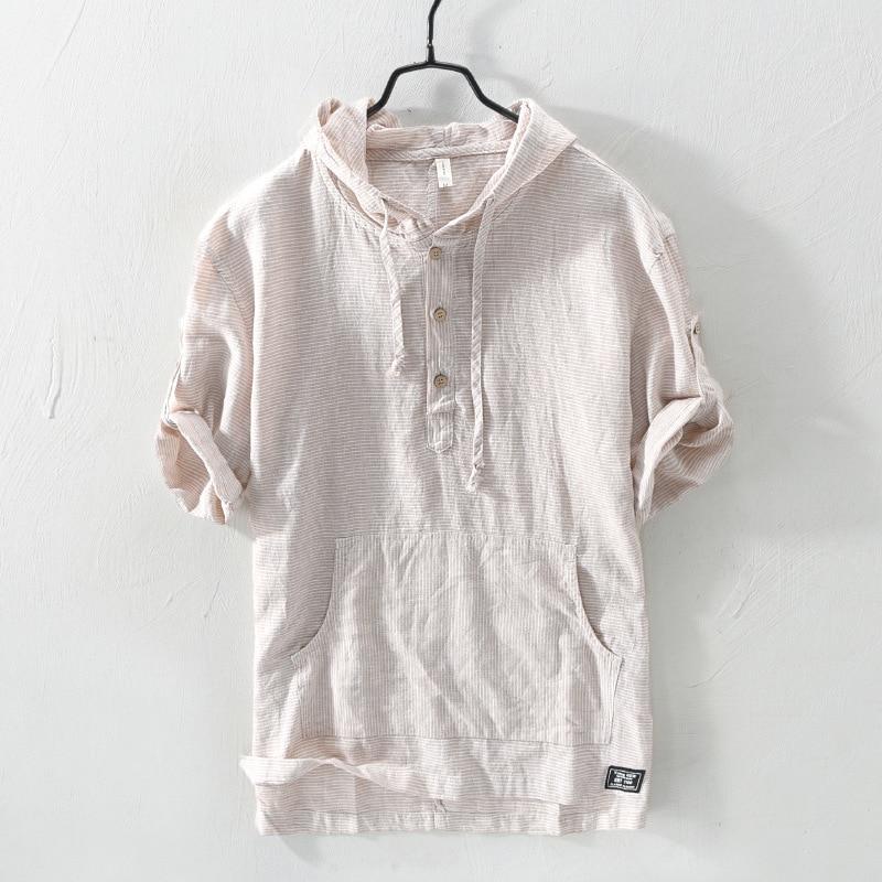 البلوز مخطط القطن الكتان مقنعين قمصان للرجال كم قصير عادية الكتان هوديس قميص الرجال موضة الشارع الشهير kamas TS-651