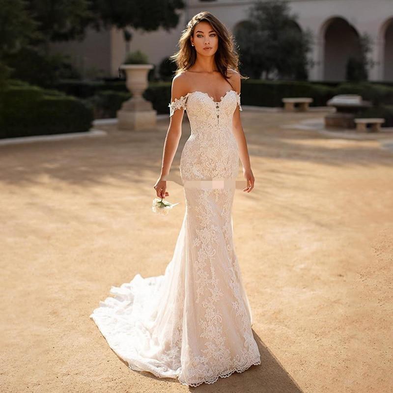 Review On Zhu Boho Mermaid Wedding Dress 2022 Sexy Off The Shoulder Lace appliques Backless Bridal Dress Plus Size vestido de noiva
