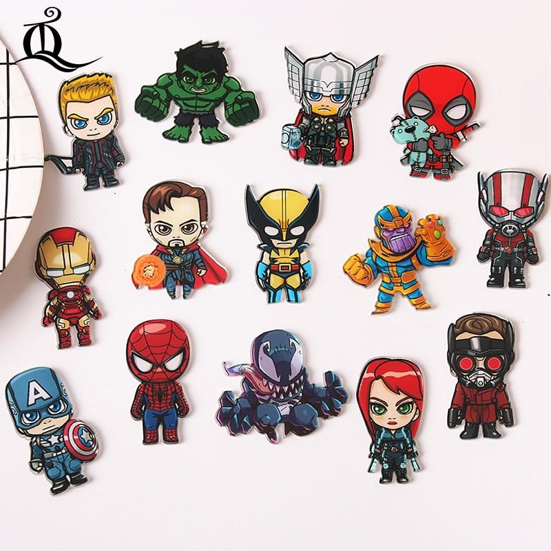 1 шт. мультфильм Мстители значок Железный человек Капитан Америка Человек-паук Тор брошь Америка Броши со спайдерменом для женщины мужчины подарок Z64