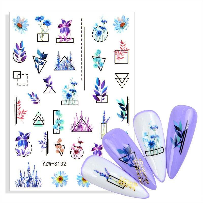 Абстрактные Геометрические линии наклейки для ногтей благородные фиолетовые букеты наклейки для украшения для ногтей Цветочная линия весеннее маникюрное украшение