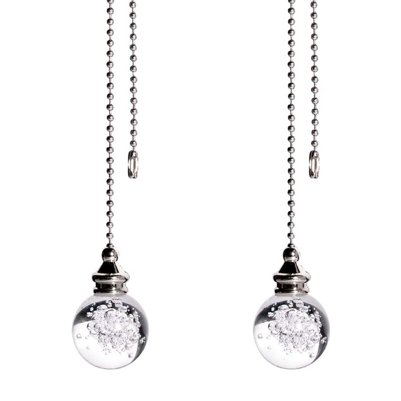 2Pcs Crystal Bubble Ball Dazzling Ceiling Fan Pull Chain Pull Chain Extension with Connector for Ceiling Light Fan