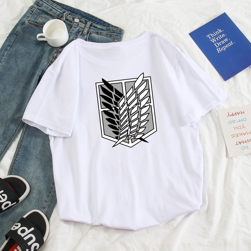 Summer Men T Shirt Casual Streetwear Hip Hop Funny Attack on Titan Anime Shirt Short Sleeve Oversized Cotton Harajuku Tee Shirt