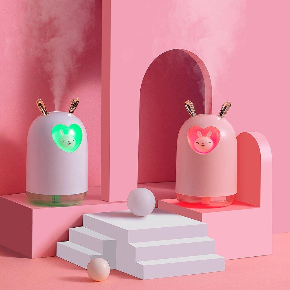 جميل أرنب الهواء المرطب 300 مللي لطيف Pet بالموجات فوق الصوتية كول ميست رائحة فواحة عطور رومانسية اللون LED مصباح USB المرطب