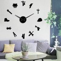 Lineman Silhouette DIY Wall Art Mirror Stickers Lineworker 3D DIY Wall Clock Electrician Frameless Large Wall Clock Home Decor