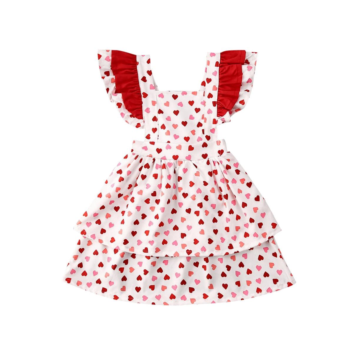 2020 chico bebé chica vestido de San Valentín ropa volantes manga impresión Tutu de la longitud de la rodilla vestido de princesa