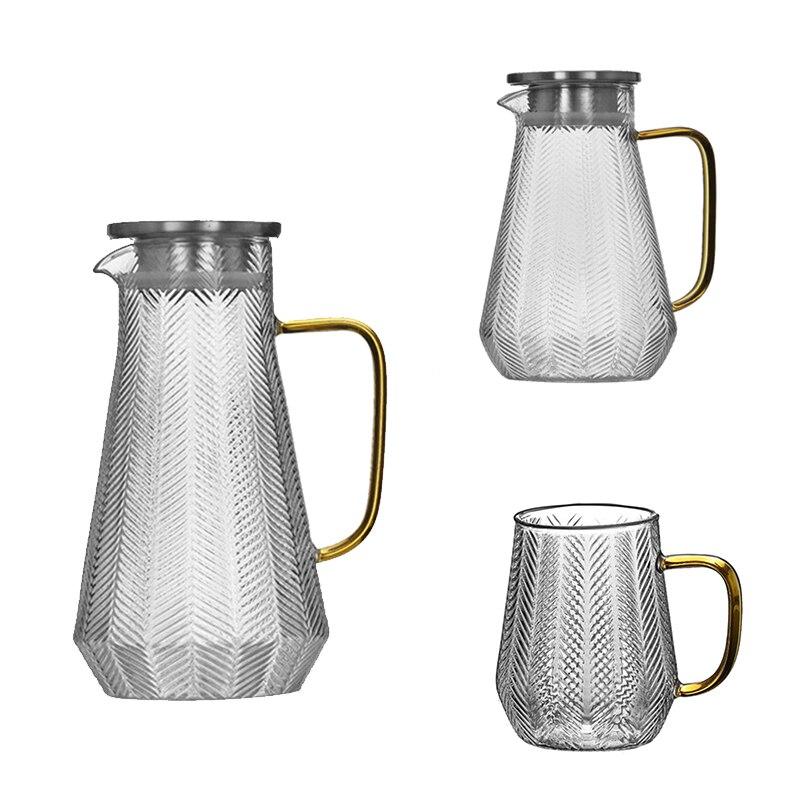 إبريق زجاجي للماء الشفاف غلاية الماء البارد ، براد شاي عصير ، إبريق ماء زجاجي