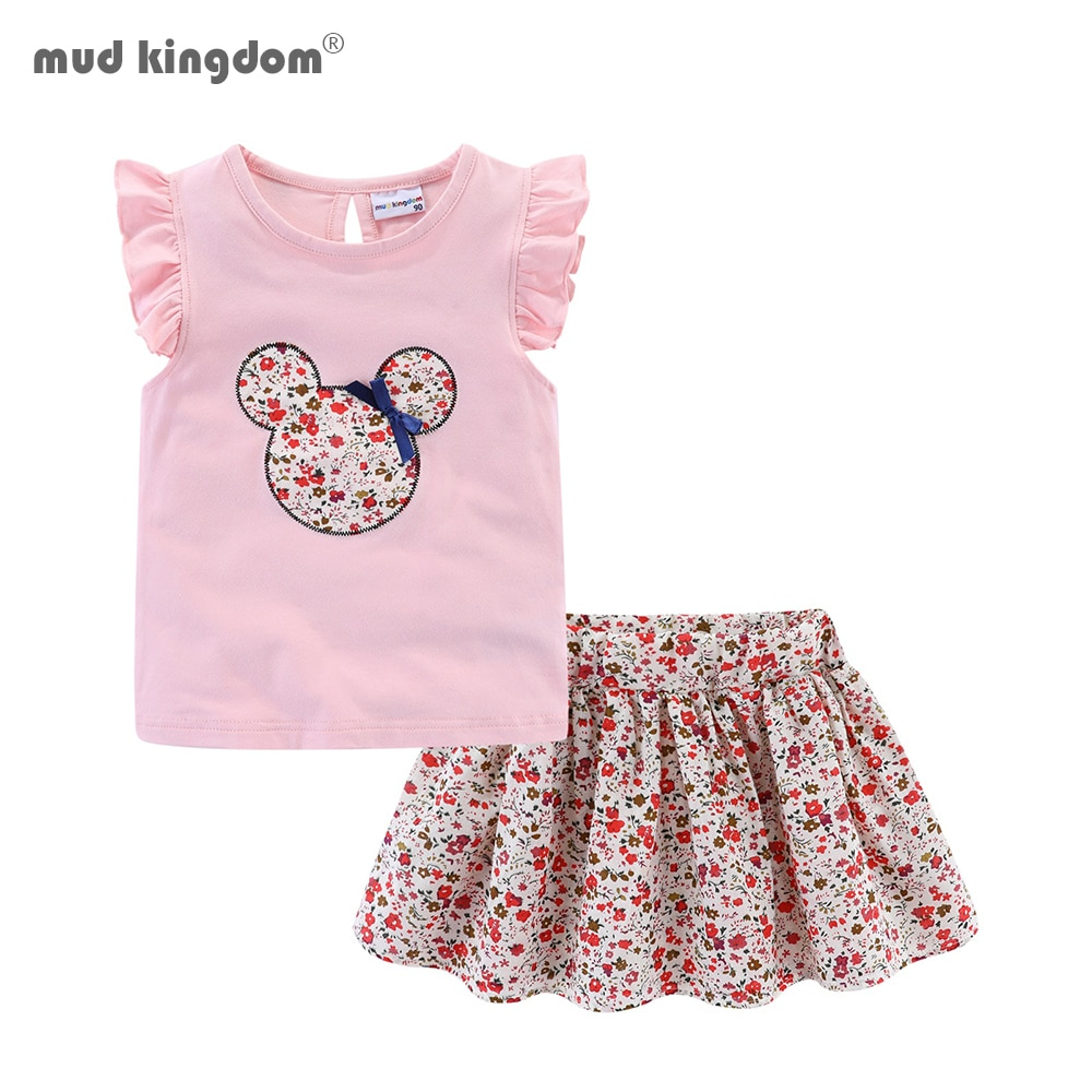 Mudkingdom Cute Girls Clothes Sets Floral 2Pcs Cartoon Kids Ruffle Sleeve Tank Top and Skirt Outfits for Girl Clothing Adorable