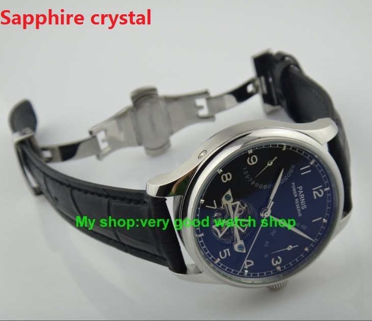 Cristal de zafiro 43MM PARNIS movimiento mecánico automático esfera negra reloj de hombre hebilla de mariposa relojes mecánicos 76