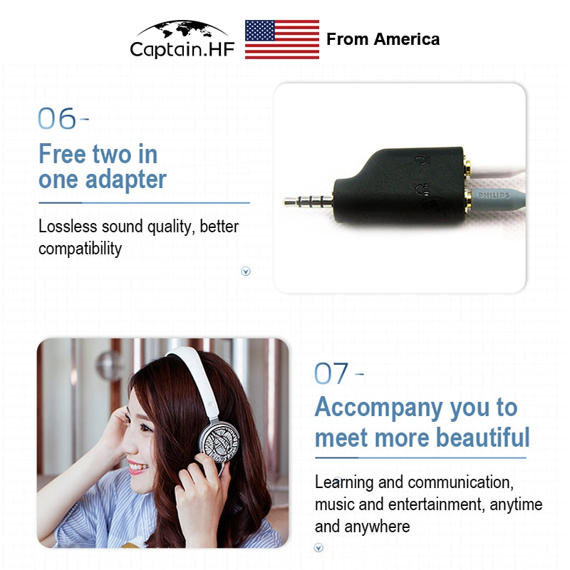 US Captain Philips Wired Headphones Model SHM7110U/27 for PC with Microphone DIY Design Headset enlarge