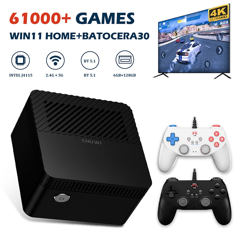 Get Retro Video Game Consoles Chuwi Super Console X PC Mini Box For PS2/PS1/WII/SS/N64 Windows 11 UHD Game Player With 61000+ Games