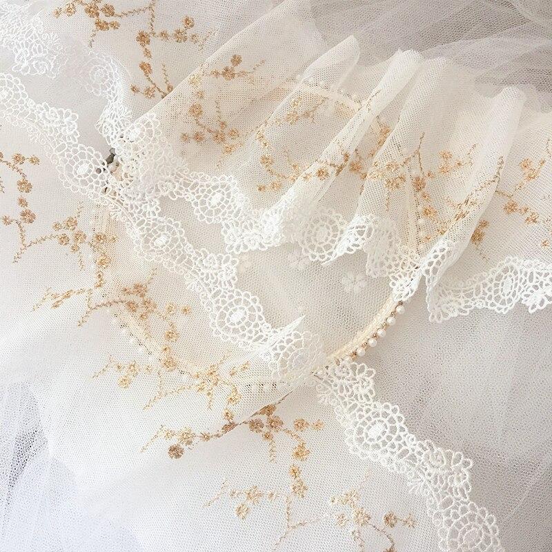 Bordado de hilo de oro fino, flor de ribete de encaje de malla, decoración del hogar, accesorios de encaje bordado, 12cm RS2762