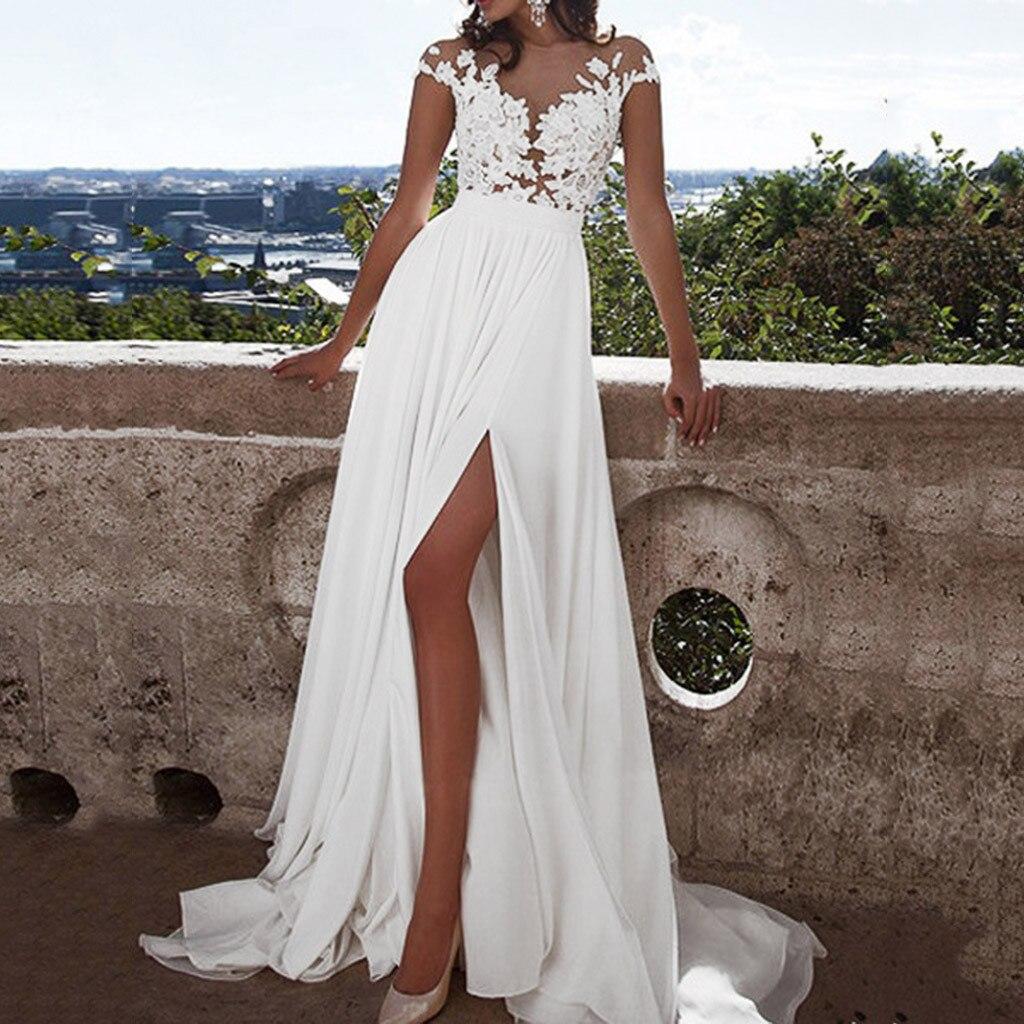 Blanco vestido De las mujeres Floral De encaje Formal Vintage manga corta Slim boda rasgados Maxi vestido Vestidos De Fiesta De Noche De d715