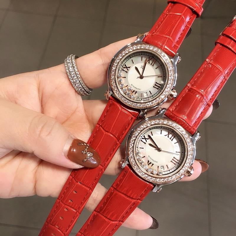Brand Genuine Leather Watch Luxury Classic Wrist Watch Fashion 36mm Rectangle Quartz Wristwatch Clock Women Happy Stone Watches enlarge